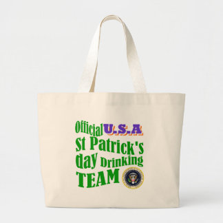 Official U.S.A St Patrick's drinking team Large Tote Bag