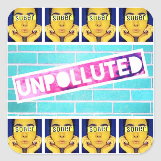 Official unpolluted square sticker