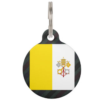 Official Vatican City Flag on stripes Pet ID Tag