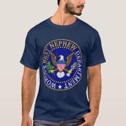 Men's Basic Dark T-Shirt with Official Nephew Seal design