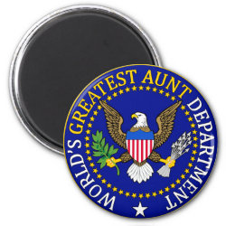Round Magnet with Official Aunt Seal design