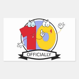 Officially 10 Birthday Banner Rectangular Sticker