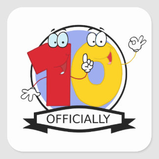 Officially 10 Birthday Banner Square Sticker