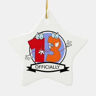 Officially 13 Birthday Banner Ceramic Ornament