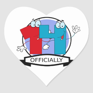 Officially 14 Birthday Banner Heart Sticker
