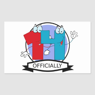 Officially 14 Birthday Banner Rectangular Sticker