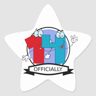 Officially 14 Birthday Banner Star Sticker