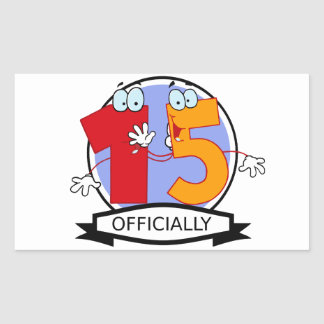 Officially 15 Birthday Banner Rectangular Sticker