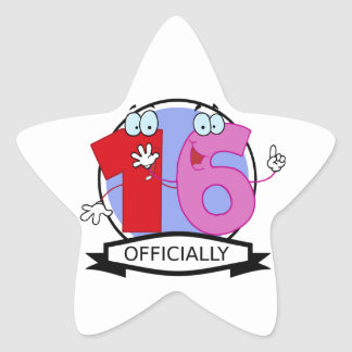 Officially 16 Birthday Banner Star Sticker