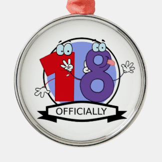 Officially 18 Birthday Banner Metal Ornament