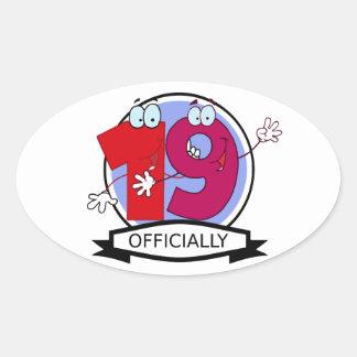 Officially 19 Birthday Banner Oval Sticker