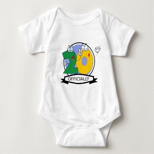Officially 20 Birthday Banner Baby Bodysuit