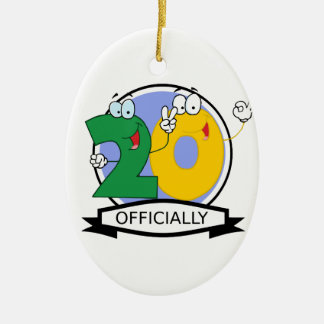 Officially 20 Birthday Banner Ceramic Ornament