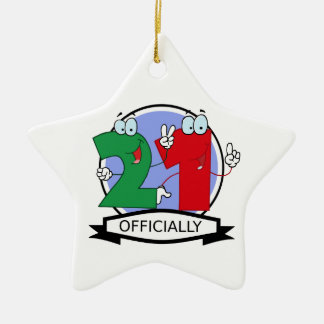 Officially 21 Birthday Banner Double-Sided Star Ceramic Christmas Ornament