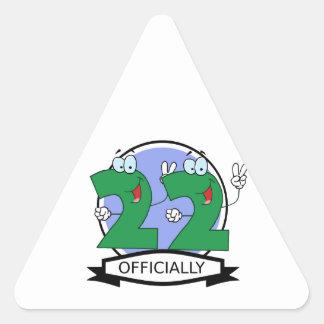 Officially 22 Birthday Banner Triangle Sticker