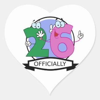Officially 26 Birthday Banner Heart Sticker
