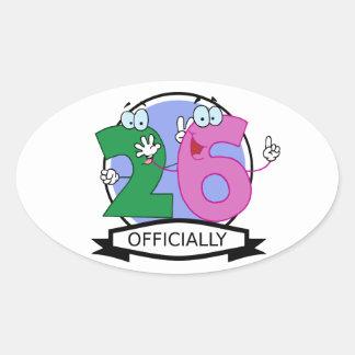 Officially 26 Birthday Banner Oval Sticker