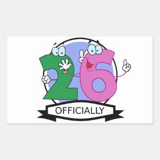 Officially 26 Birthday Banner Rectangular Sticker