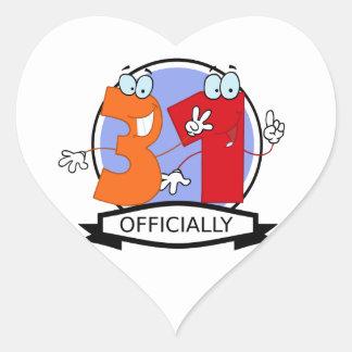 Officially 31 Birthday Banner Heart Sticker