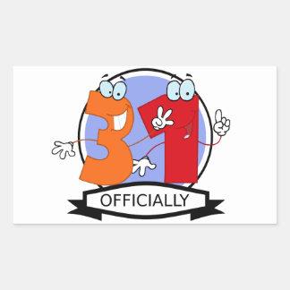 Officially 31 Birthday Banner Rectangular Sticker