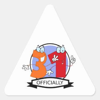 Officially 31 Birthday Banner Triangle Sticker