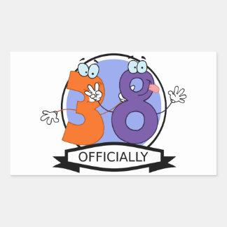 Officially 38 Birthday Banner Rectangular Sticker