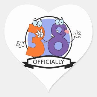 Officially 38 Birthday Banner Heart Sticker