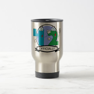 Officially 42 Birthday Banner Travel Mug