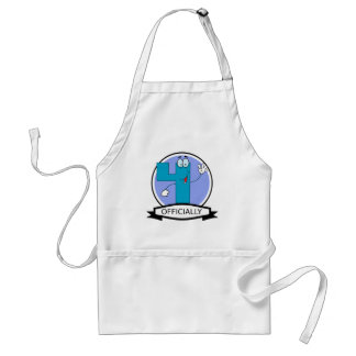 Officially 4 Birthday Banner Adult Apron