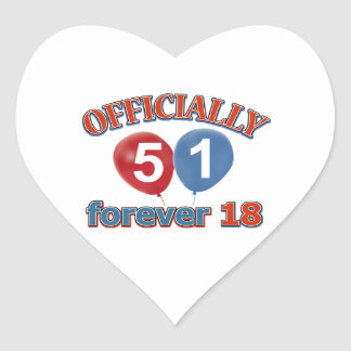 Officially 51 forever 18 heart sticker