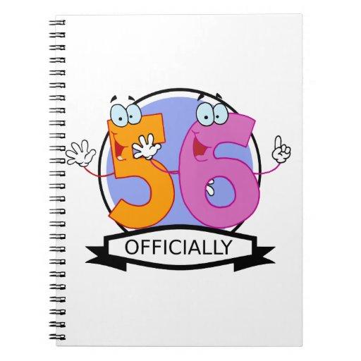 Officially 56 Birthday Banner Spiral Notebook