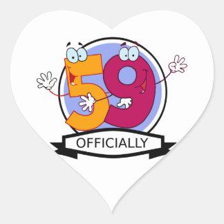 Officially 59 Birthday Banner Heart Sticker