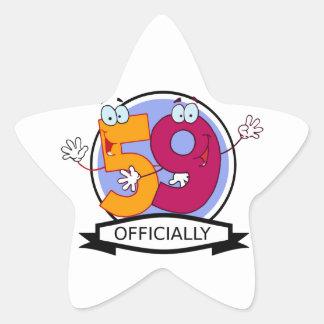 Officially 59 Birthday Banner Star Sticker