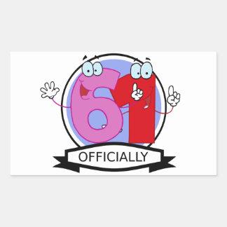 Officially 61 Birthday Banner Rectangular Sticker