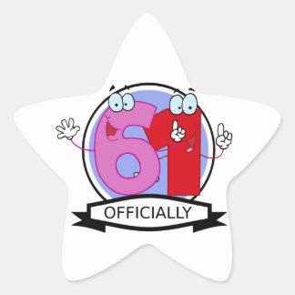 Officially 61 Birthday Banner Star Sticker