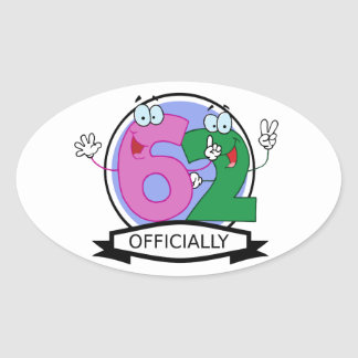 Officially 62 Birthday Banner Oval Sticker