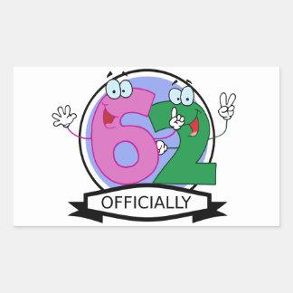 Officially 62 Birthday Banner Rectangular Sticker