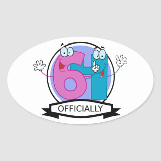 Officially 64 Birthday Banner Oval Sticker