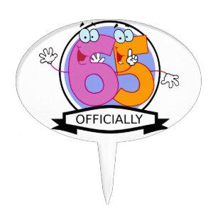 Officially 65 Birthday Banner Cake Topper