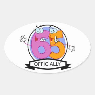 Officially 65 Birthday Banner Oval Sticker