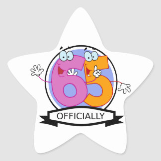 Officially 65 Birthday Banner Star Sticker