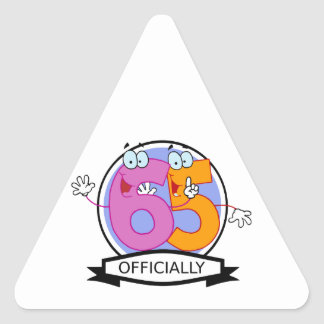 Officially 65 Birthday Banner Triangle Sticker