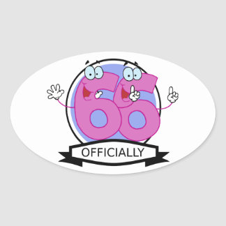 Officially 66 Birthday Banner Oval Sticker