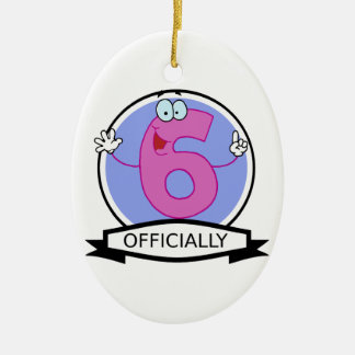 Officially 6 Birthday Banner Ceramic Ornament