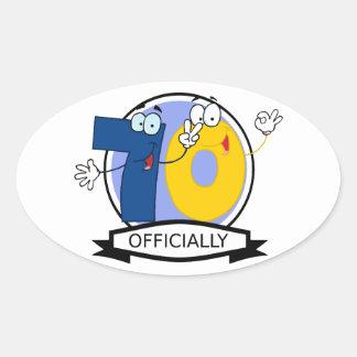 Officially 70 Birthday Banner Oval Sticker