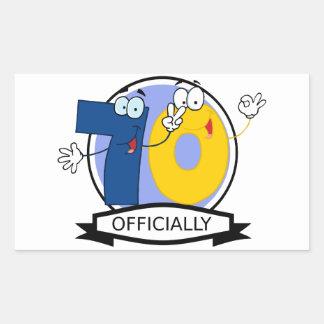 Officially 70 Birthday Banner Rectangular Sticker