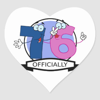 Officially 76 Birthday Banner Heart Sticker