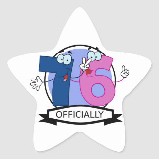 Officially 76 Birthday Banner Star Sticker