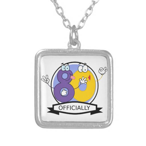 Officially 80 Birthday Banner Square Pendant Necklace