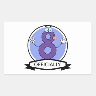Officially 8 Birthday Banner Rectangular Sticker